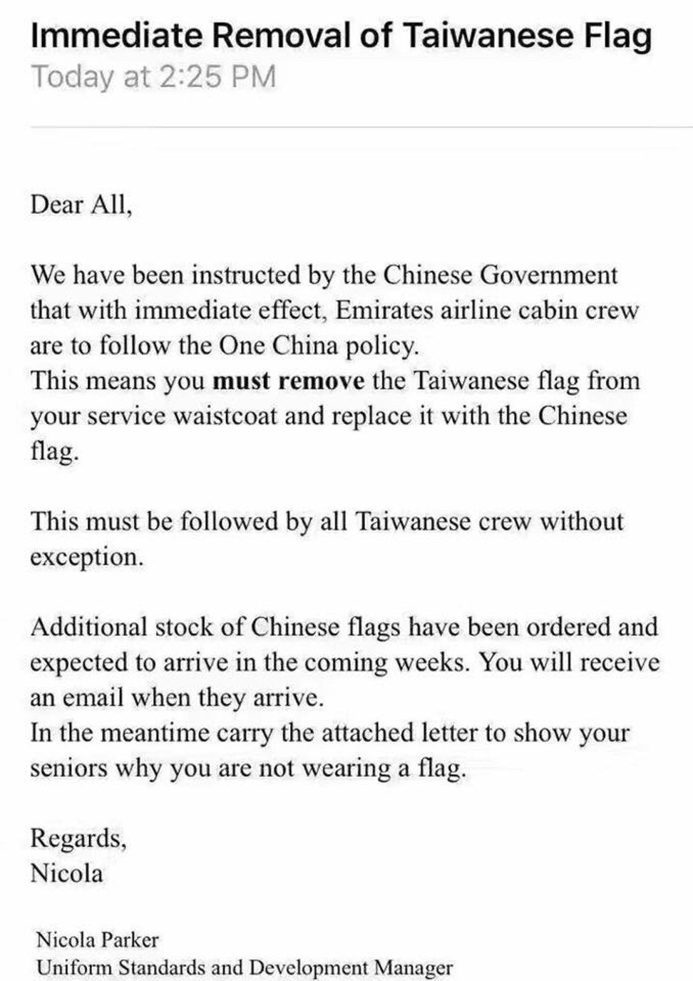 Emirates says telling cabin crew not to wear taiwan flag pins per emirates airlines ordered taiwanese cabin crew to drop the islands national flag from its uniform photo handout spiritdancerdesigns Gallery