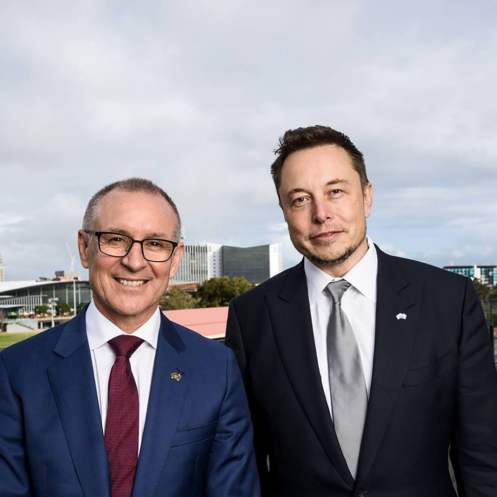 Tesla motors ceo elon musk battery to power home is only 6 - South Australia S Premier Jay Weatherill And Tesla Motors Ceo Elon Musk Photo Afp