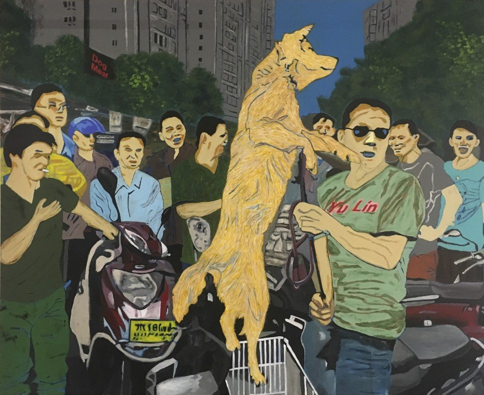 This piece by Peng depicts Yulin's dog meat festival. Photo: Peng Hong-ling