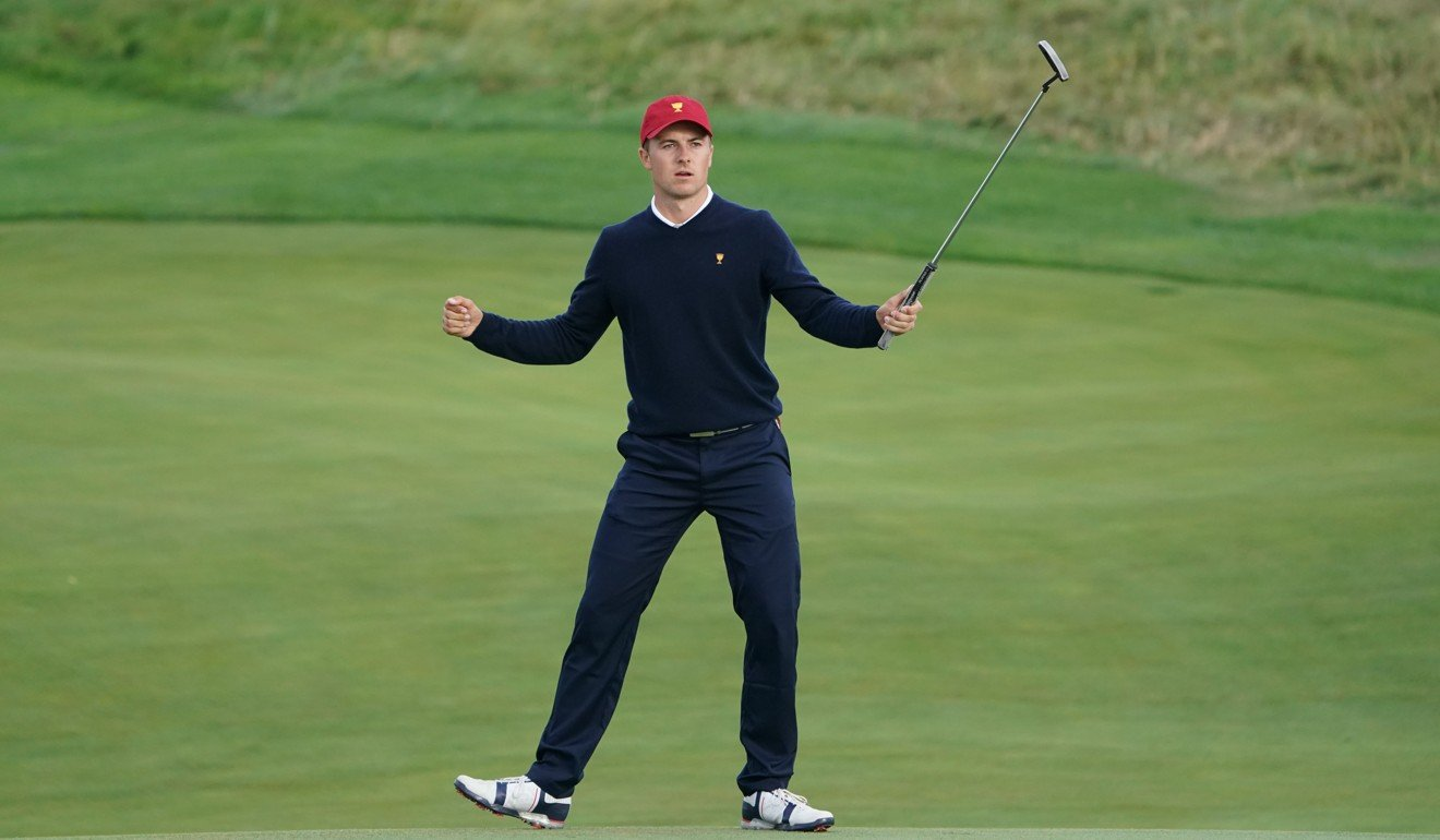 dcb05b27e31 Jordan Spieth sinks the winning putt in his match. Photo: USA Today Sports.  ""