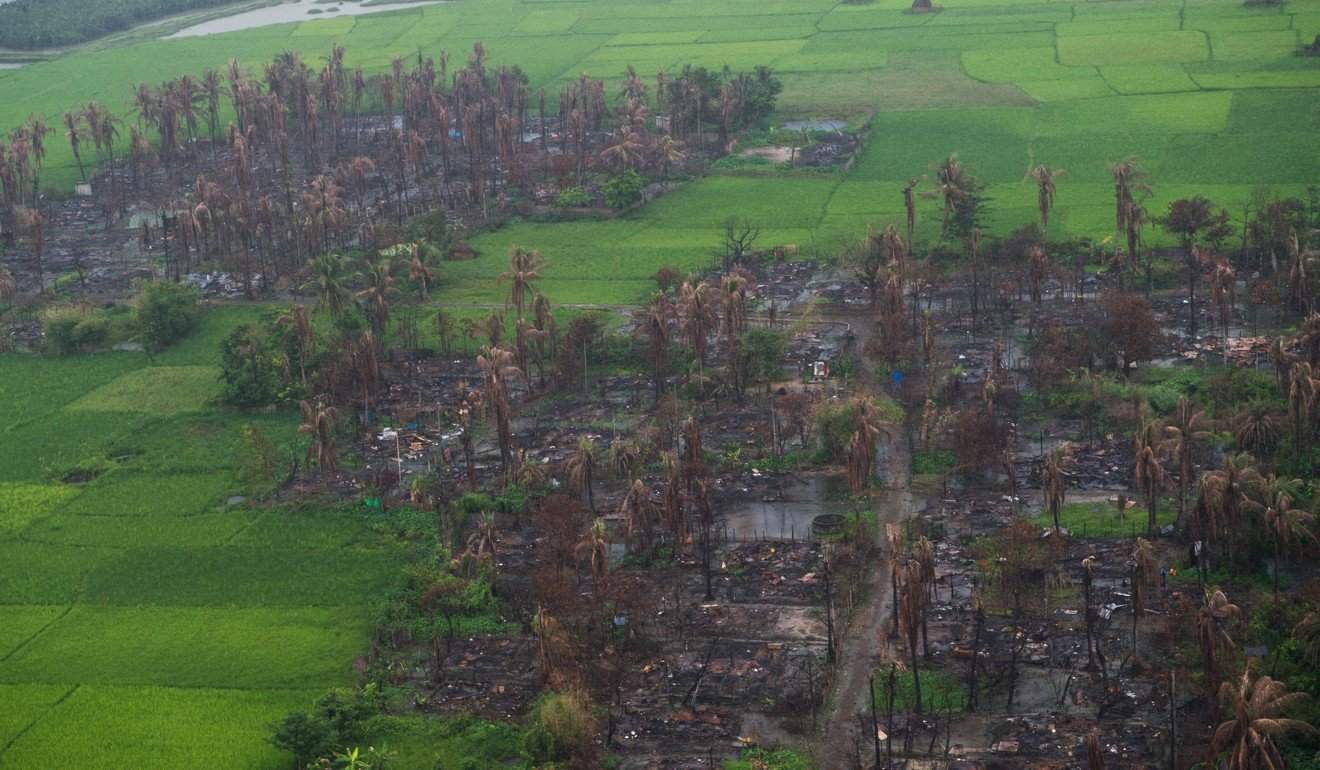 An aerial picture taken on September 27 shows burnt villages near Maungdaw, in Rakhine state. Picture: AFP
