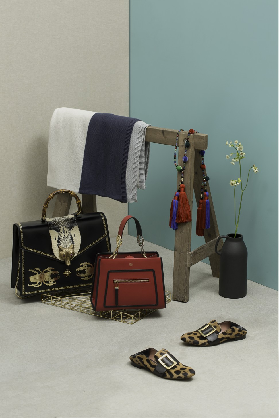 The Must Have Accessories Of Autumn Winter Post Magazine South Shanghai Gold Mini Crossbody Black Red Bag Hk15900 By Fendi Leopard Print Slippers Hk6890 Bally Tassel Necklace Hk14000 Giorgio Armani Throw Hk1240 And Tray
