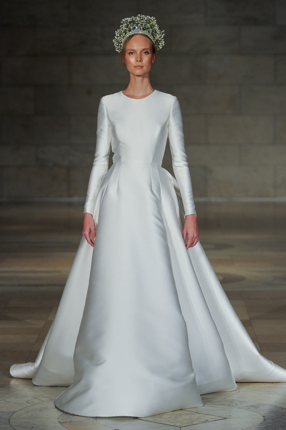 Trinity Bridal Reem Acra S Long Sleeved Captivating Wedding Gown Gives Timeless Silhouettes A New Tone