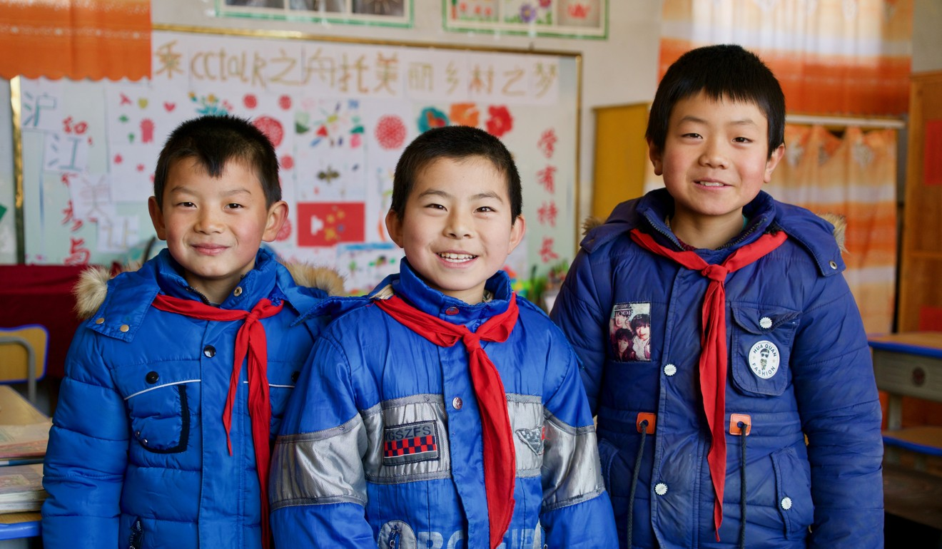 The three Lumacha primary school students (from left): Du Yongsheng, Chang Wenxuan and Shi Zhenggang. — SCMP