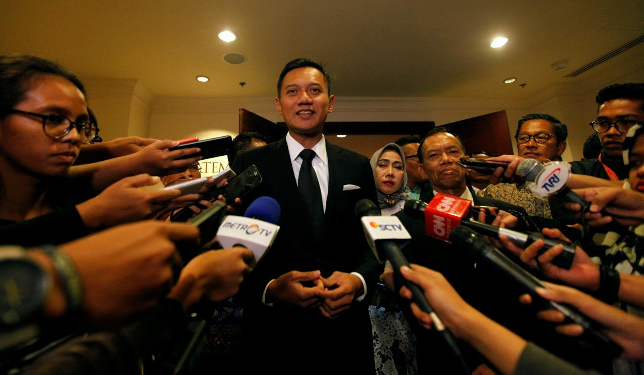 Agus Harimurti Yudhoyono, candidate for Jakarta governor and son of former Indonesia president Susilo Bambang Yudhoyono, speaks after a meeting in Jakarta, Indonesia. Photo: Reuters