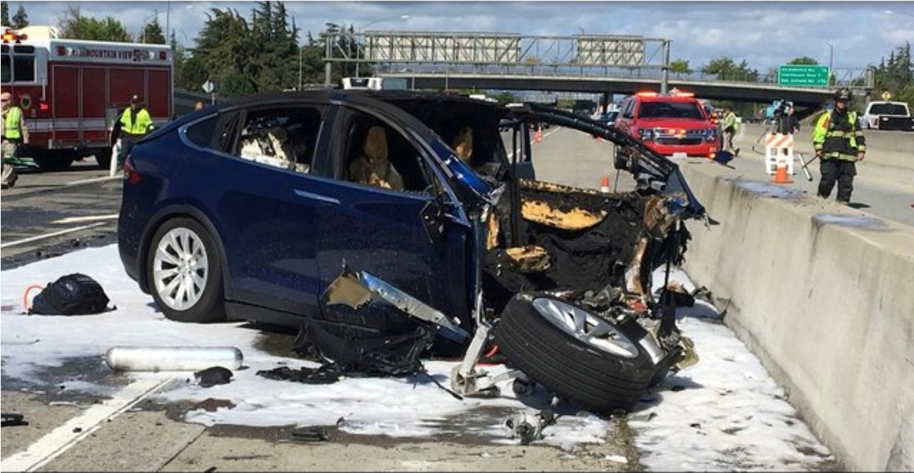 Shocking video shows Tesla bursting into flames 'out of the