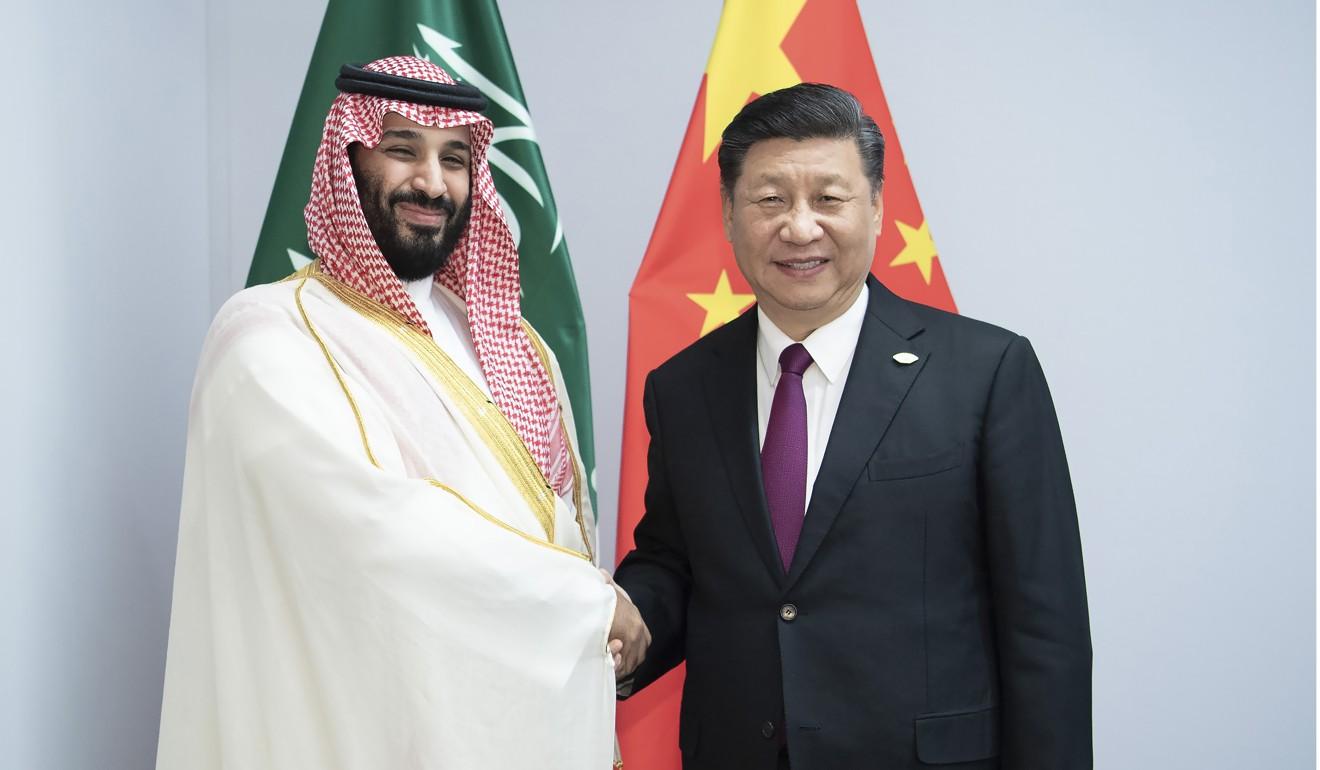 Prince Mohammed bin Salman with President Xi Jinping. Photo: Xinhua/AP