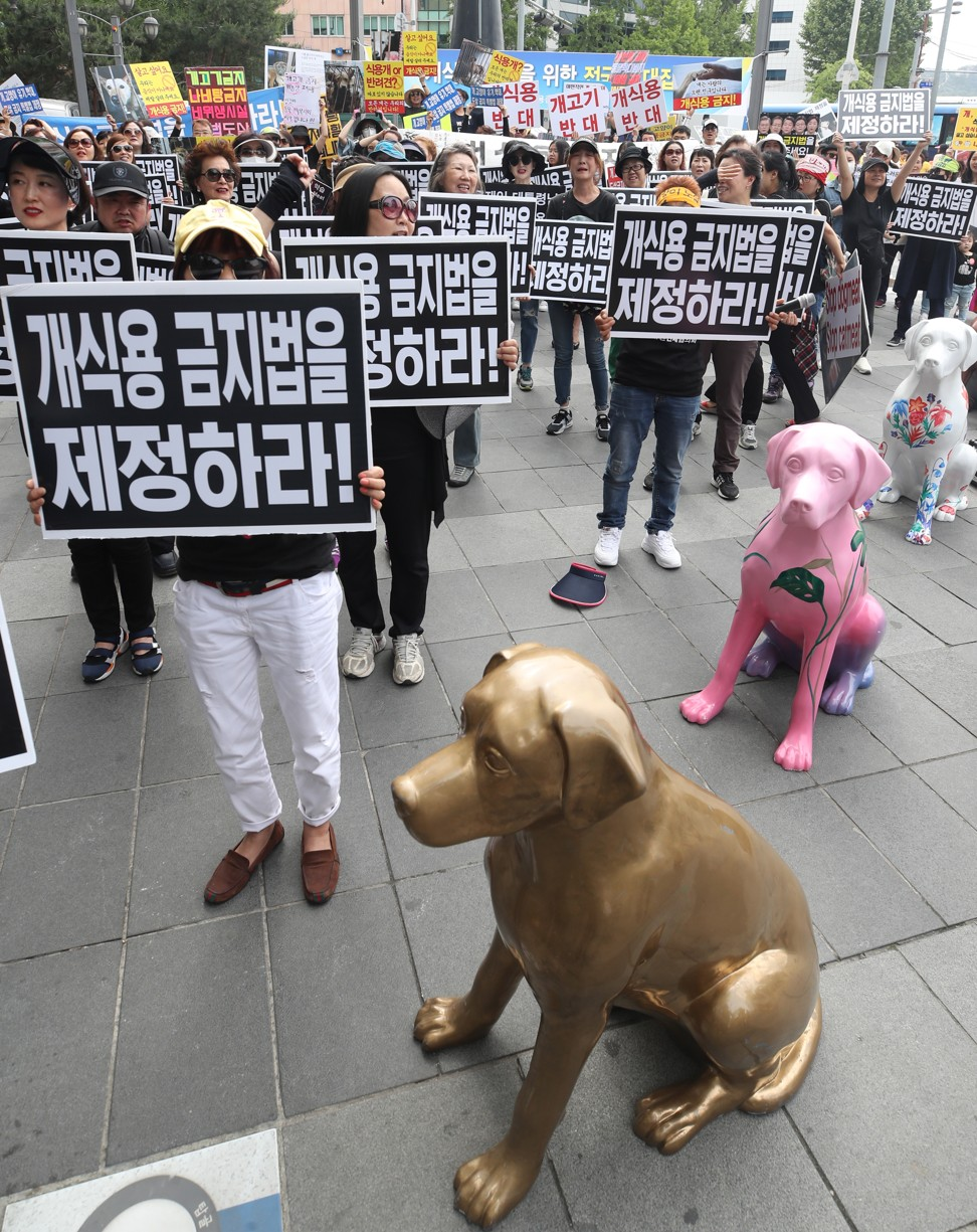 A group of activist stage a rally in downtown Seoul, South Korea to call for a law banning the human consumption of dog meat in May 2018. Photo: EPA-EFE