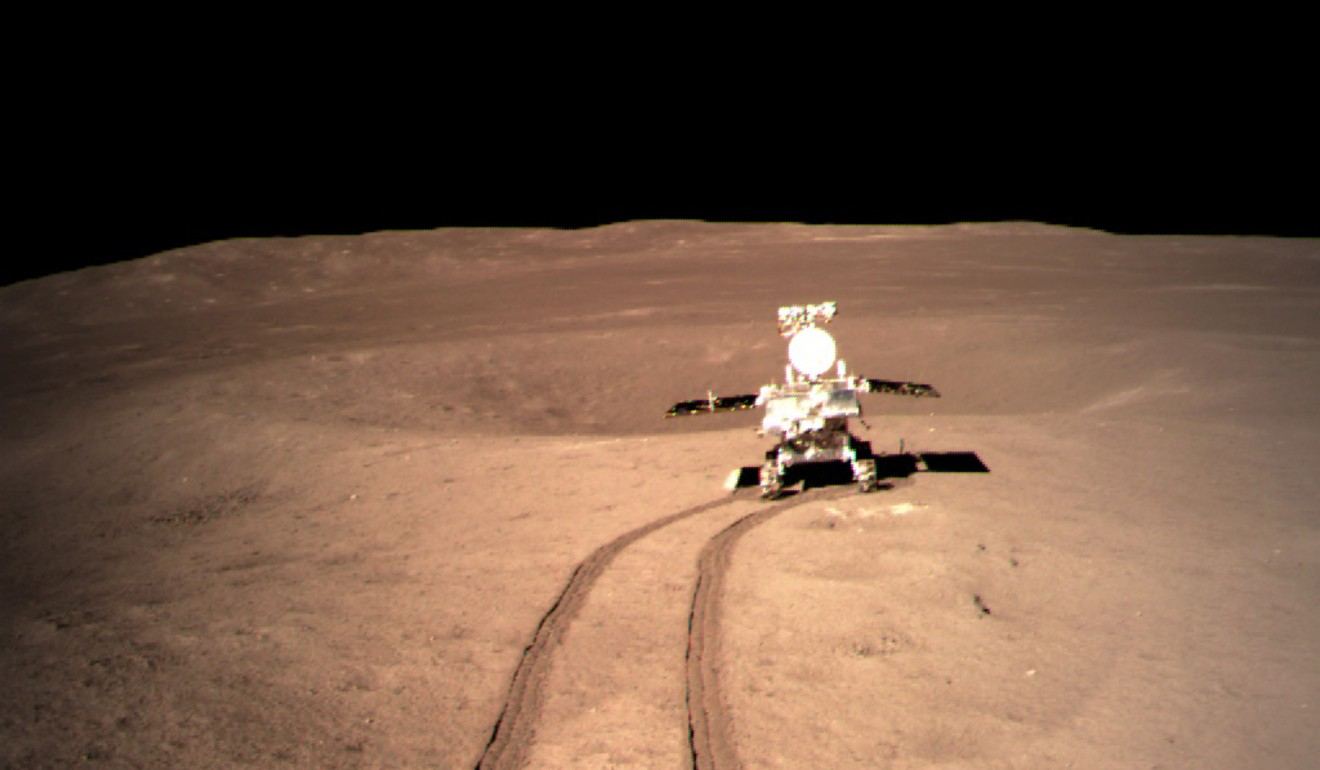 Yutu 2, China's lunar rover, on the surface of the far side of the moon. Photo: Xinhua/CNSA