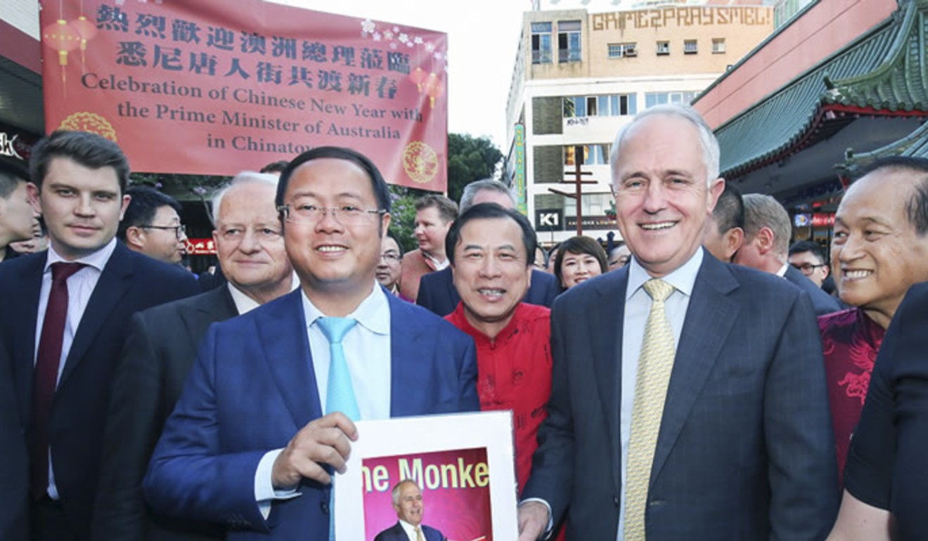Huang Xiangmo in 2016 with then Australian prime minister Malcolm Turnbull. Photo: Handout