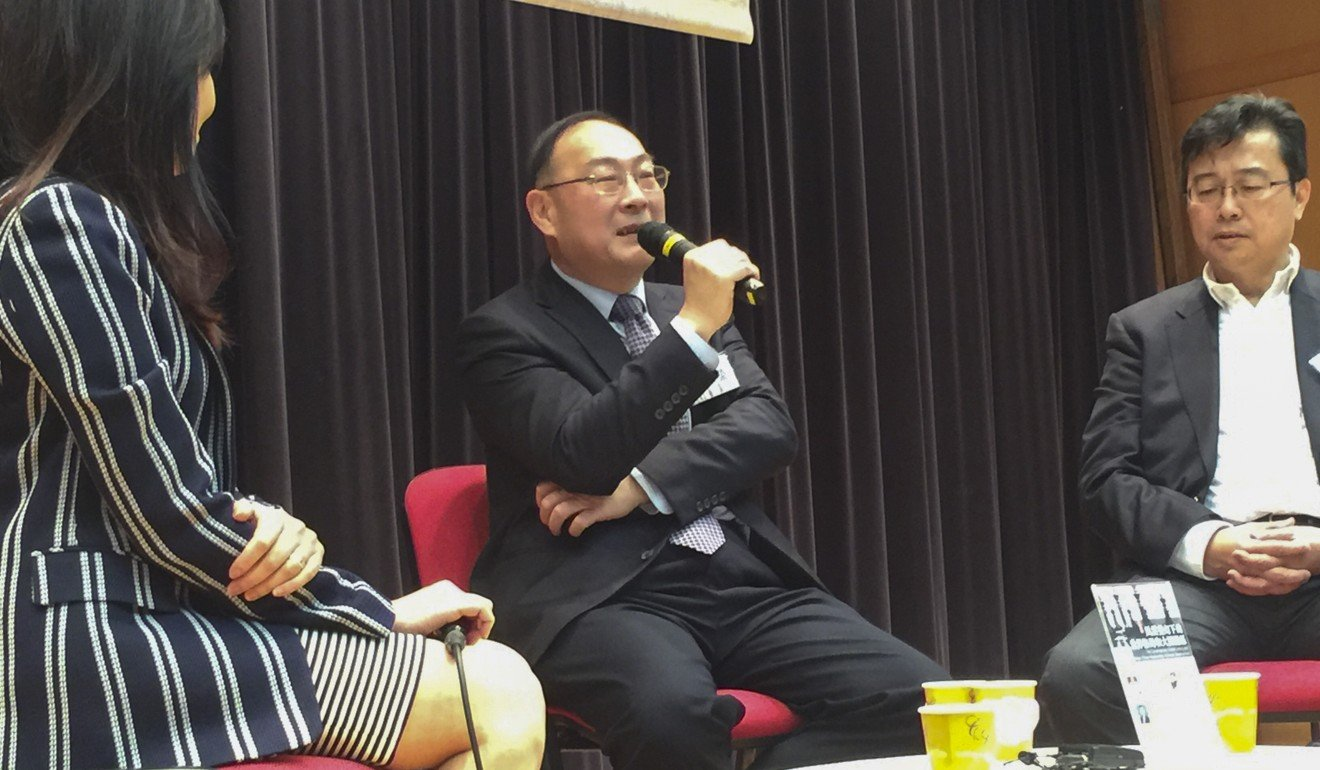 Professor Jin Canrong speaks at a forum in Hong Kong. Photo: Handout