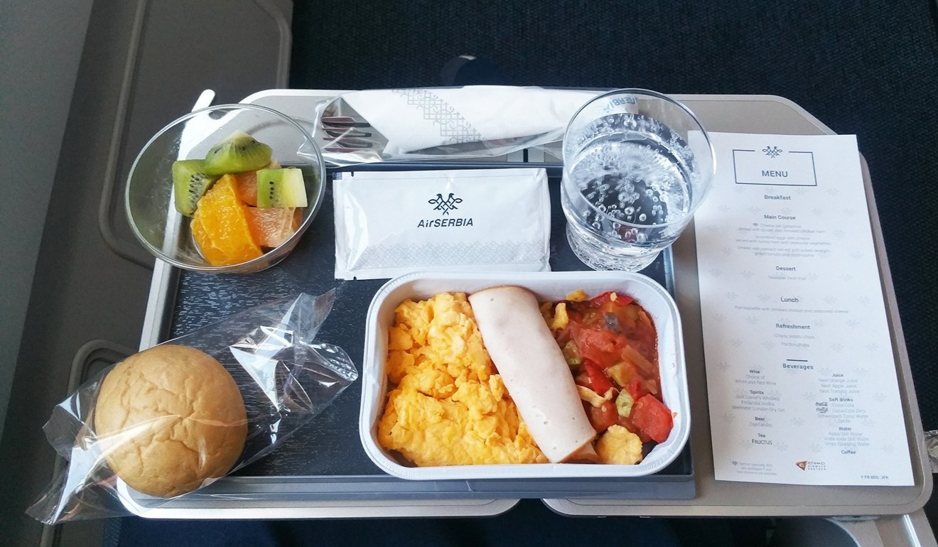 Air Serbia's breakfast on the Belgrade to New York flight in economy class. The only decent thing about this meal was the fruit. Photo: Nik Loukas