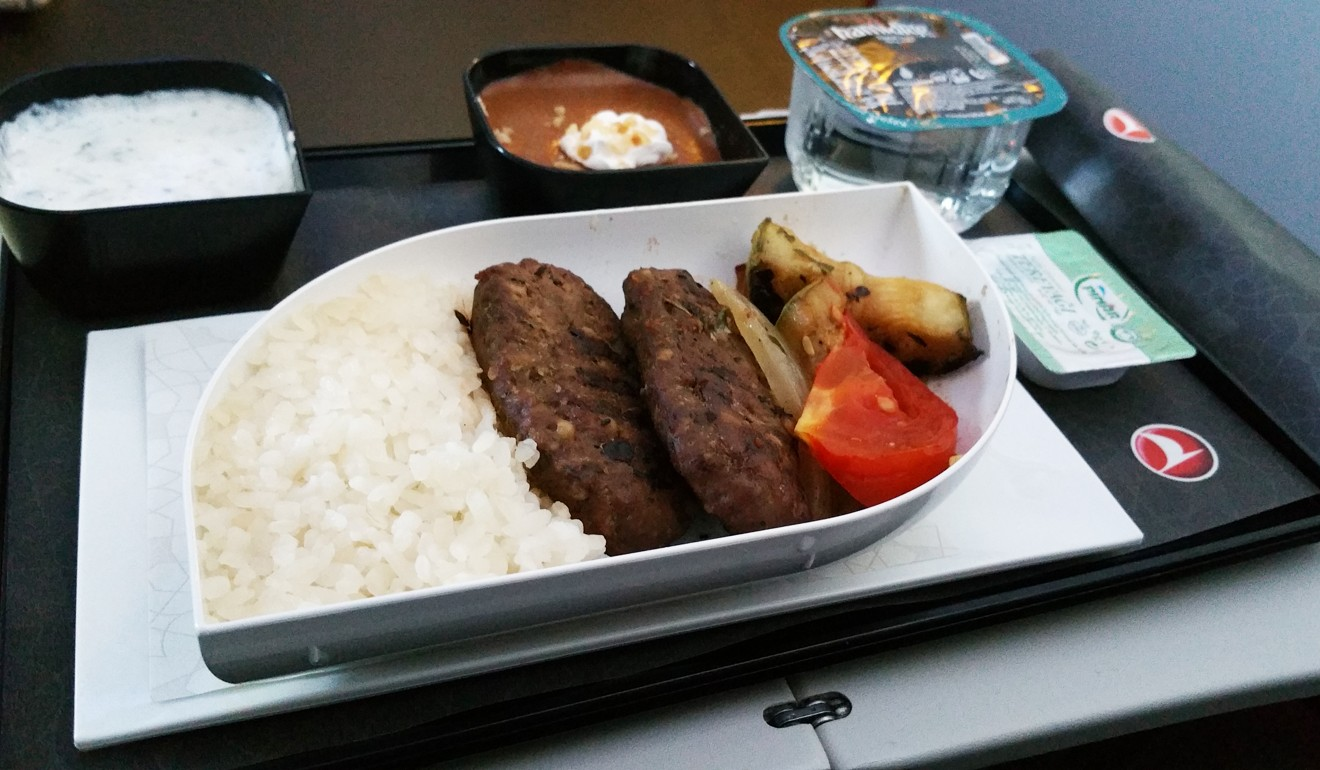 Turkish Airlines' delicious Turkish kofta with grilled vegetables. Photo: Nik Loukas