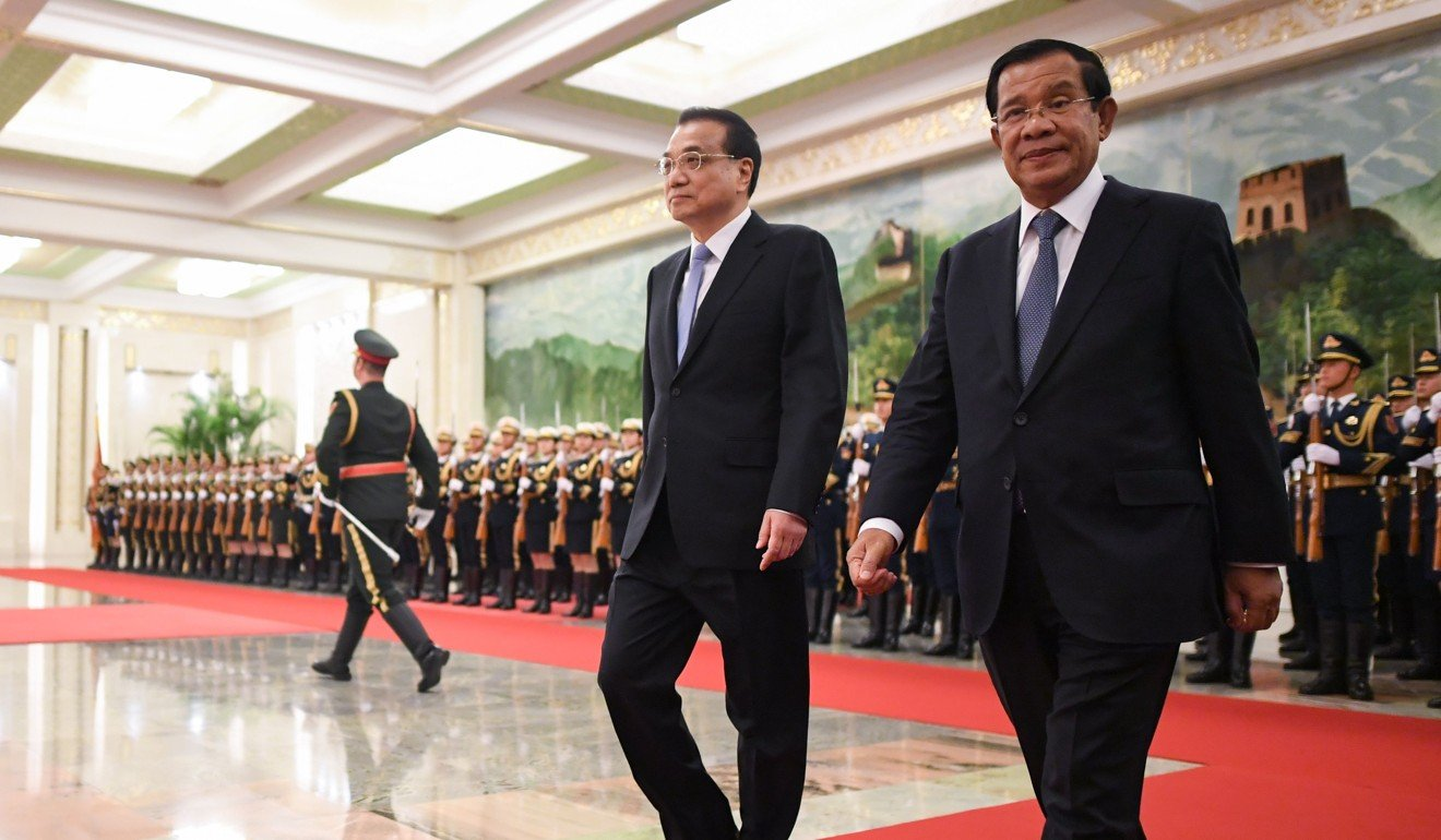 Chinese Premier Li Keqiang hosts Cambodian Prime Minister Hun Sen at the Great Hall of the People in Beijing. Photo: AFP