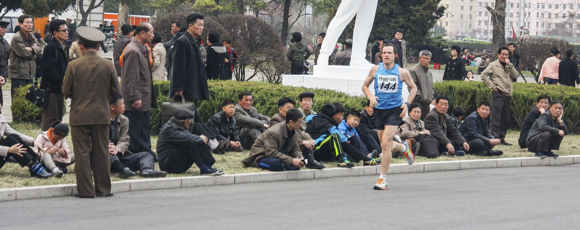 Gething runs the North Korea Marathon. Picture: David Gething