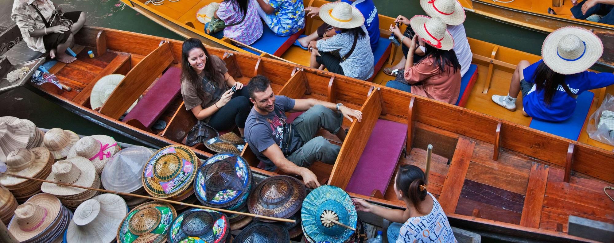 Visiting a floating market is a popular Bangkok pastime.