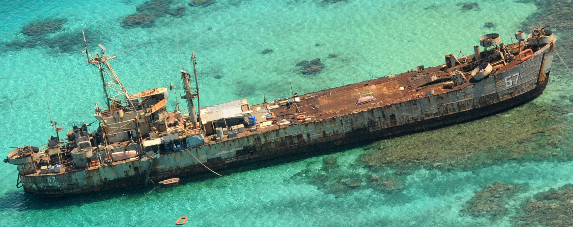 A grounded Philippines Navy vessel in the disputed South China Sea. Photo: AFP