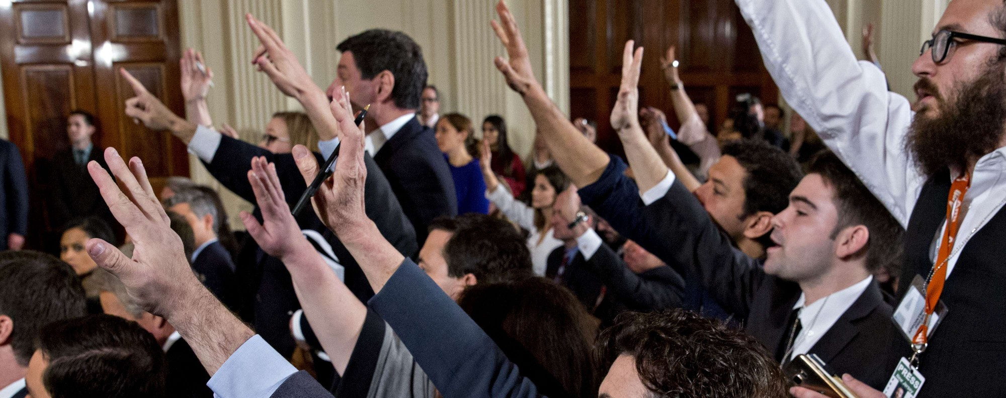 Members of the media question Donald Trump. Photo: Bloomberg