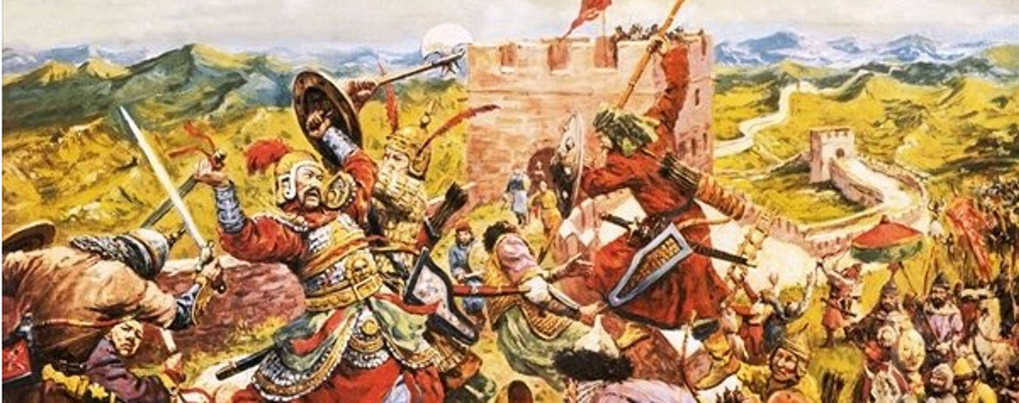 Mongol soldiers break through the Great Wall of China.