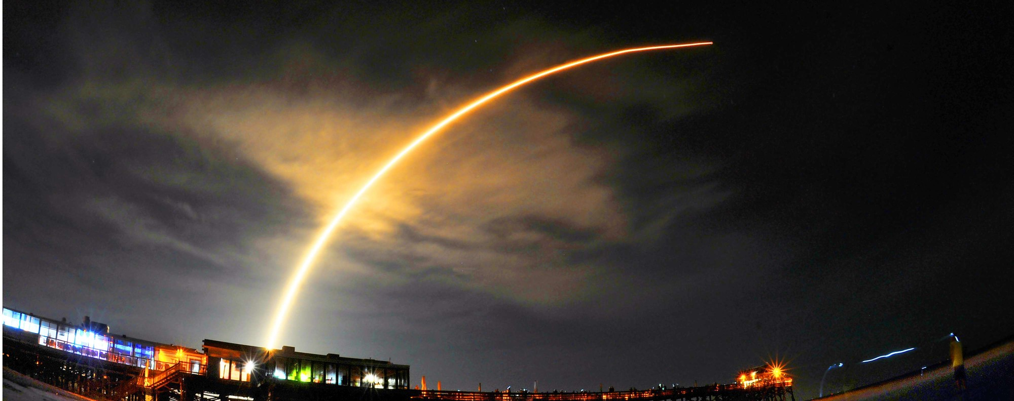 A SpaceX Falcon 9 rocket launches in Florida. Photo: AP
