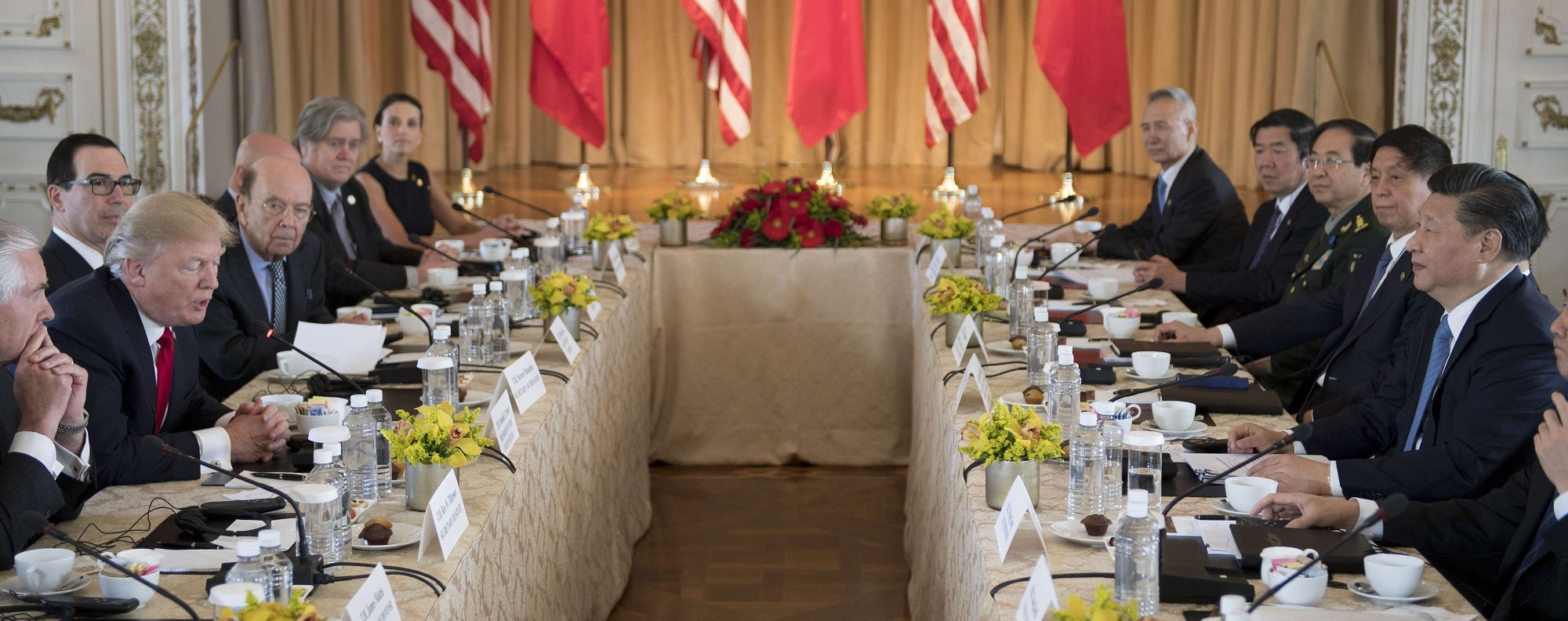 Trump and Xi get down to talks in Mar-a-Lago. Photo: AFP