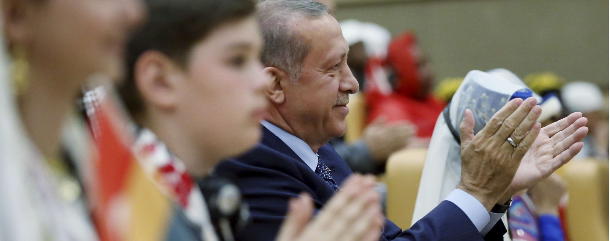 Turkey's President Recep Tayyip Erdogan, centre. Photo: AP