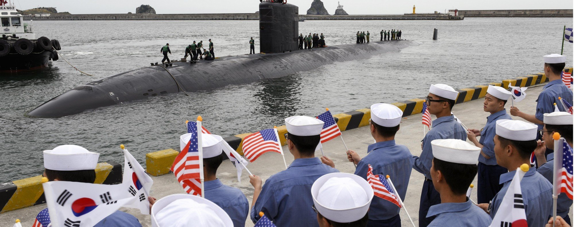The USS Cheyenne arrives in South Korea. Photo: AFP