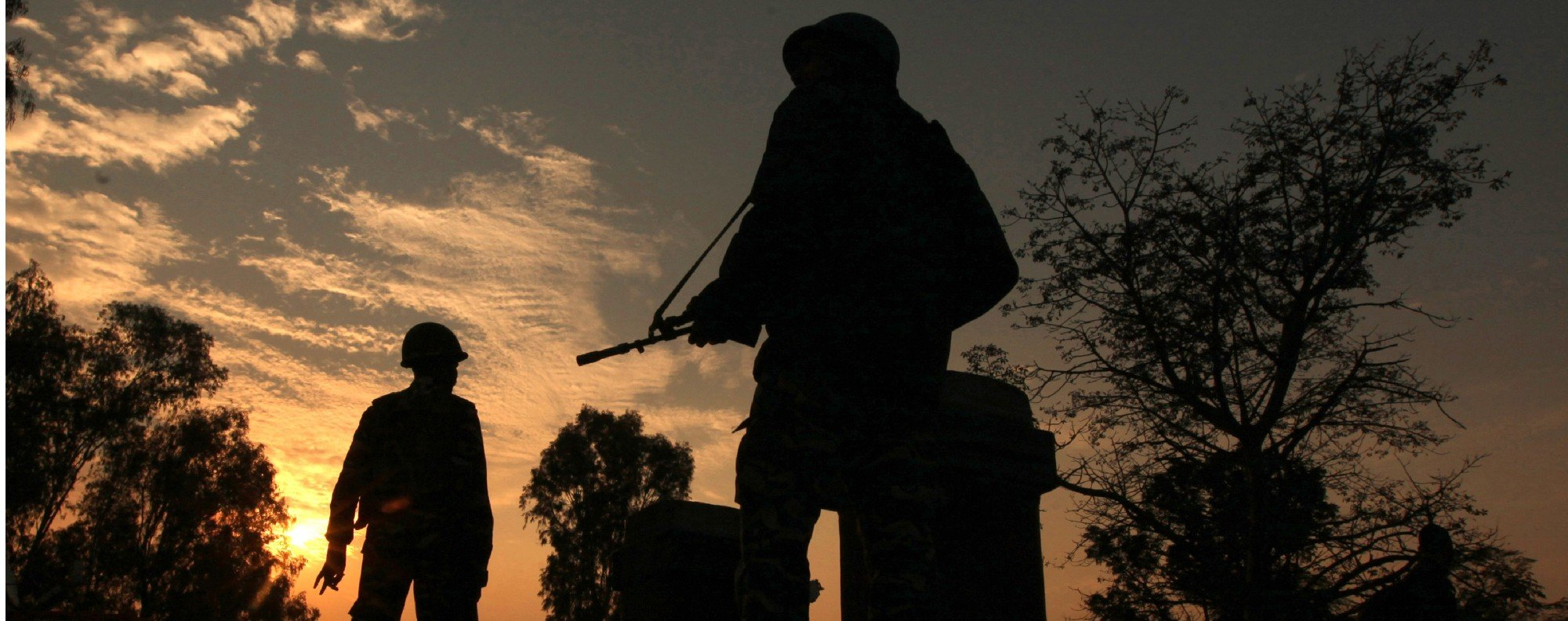 Indian army soldiers patrol near the frontier with Pakistan. Photo: AFP