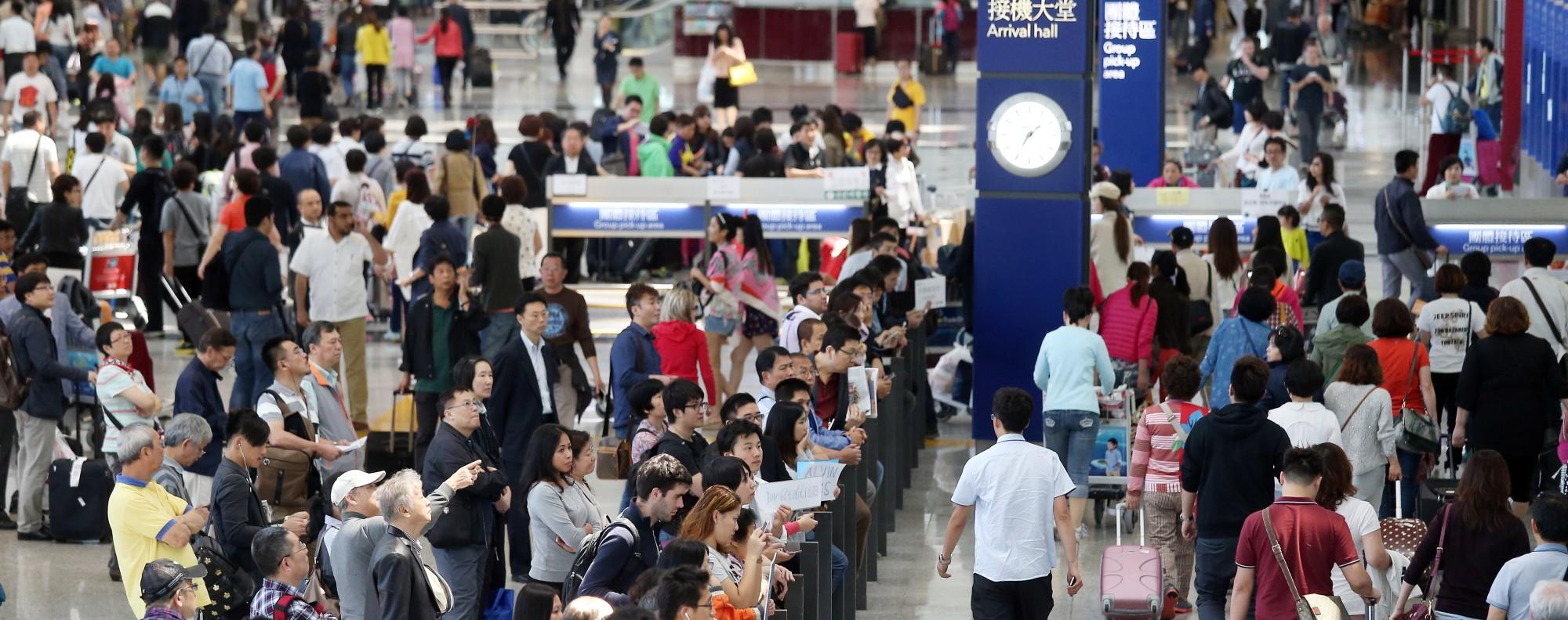 The arrival hall at Hong Kong International Airport.