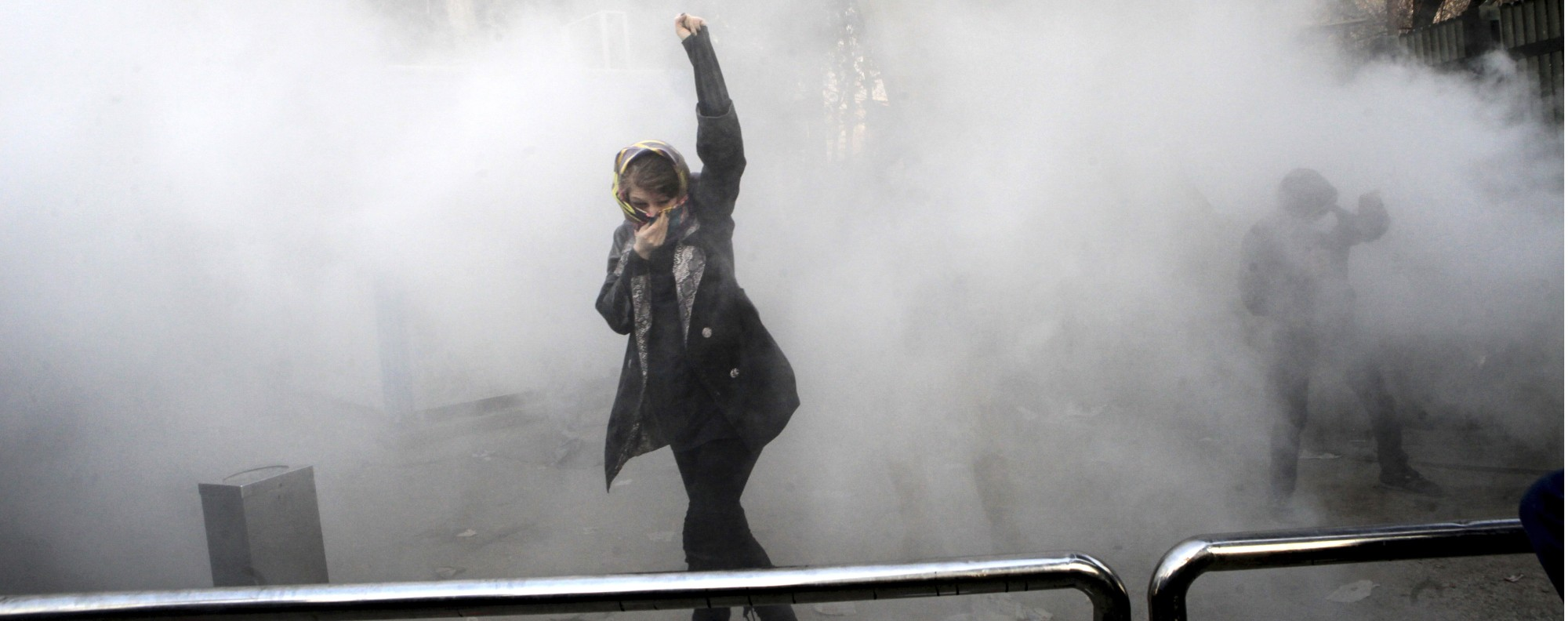 A student attends a protest inside Tehran University. Photo: AP