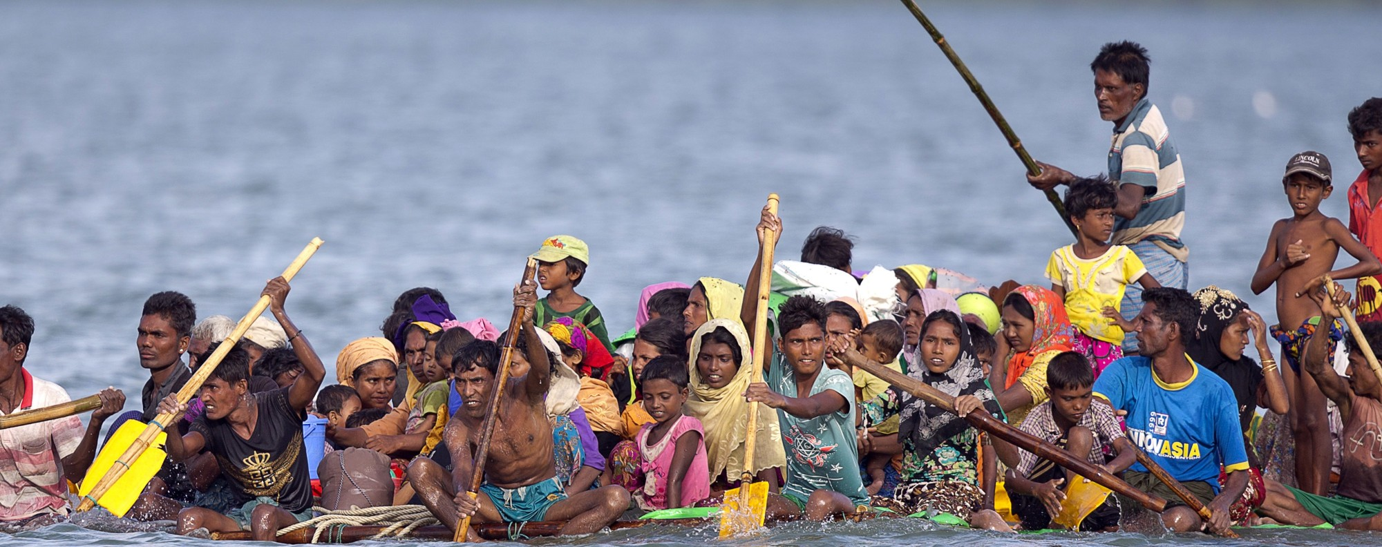 Rohingya flee Myanmar for Bangladesh on an overloaded raft. Picture: AP