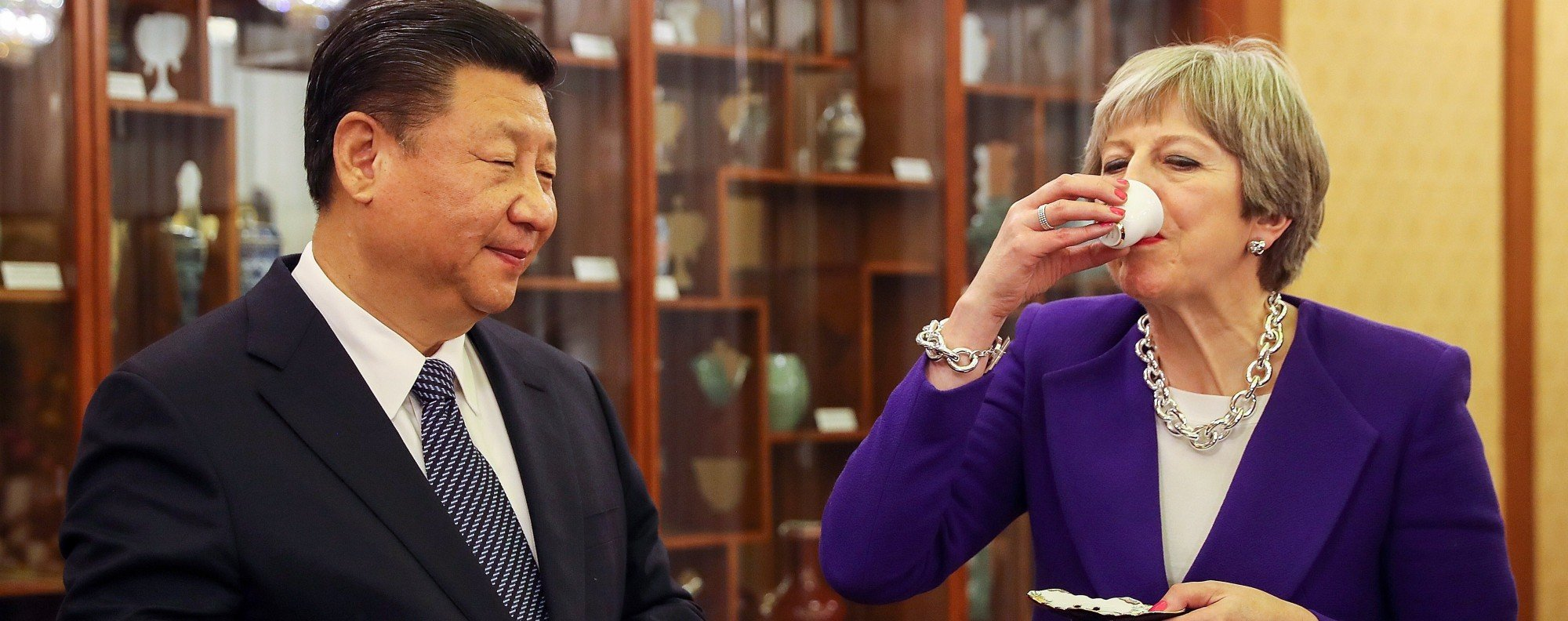 Xi and May. Photo: Bloomberg
