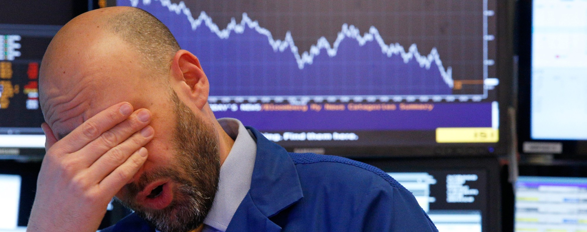 A trader on the floor of the New York Stock Exchange. Photo: Reuters
