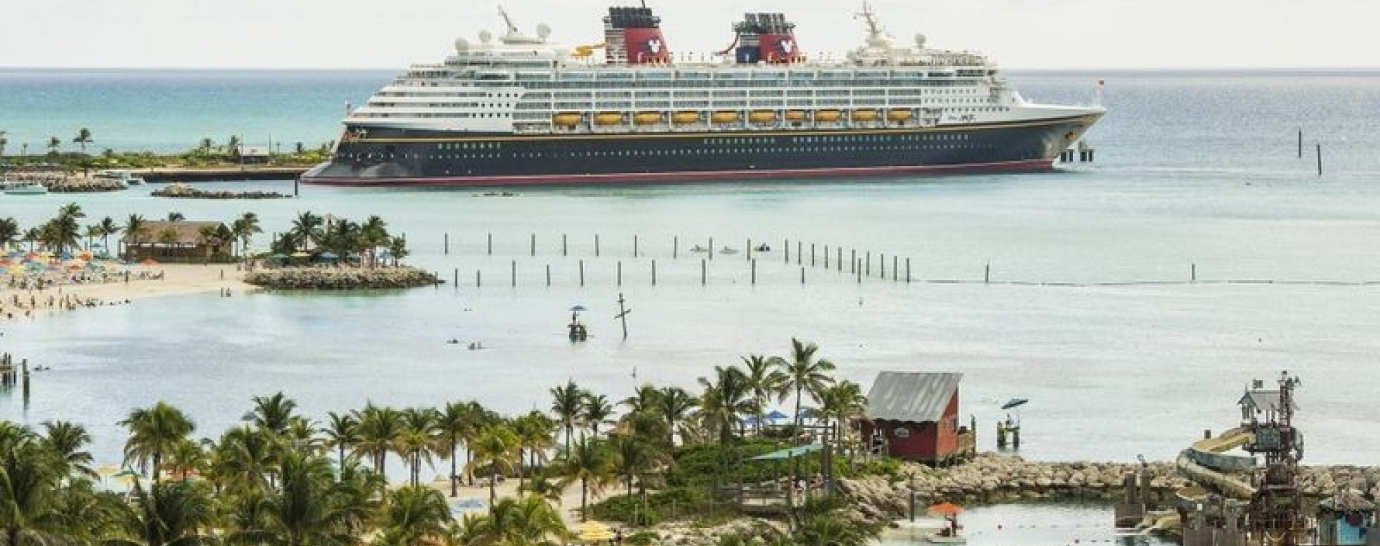 The Disney Magic docks at Castaway Cay, Disney's private island in the Bahamas. Photo: Matt Stroshane, courtesy of Disney