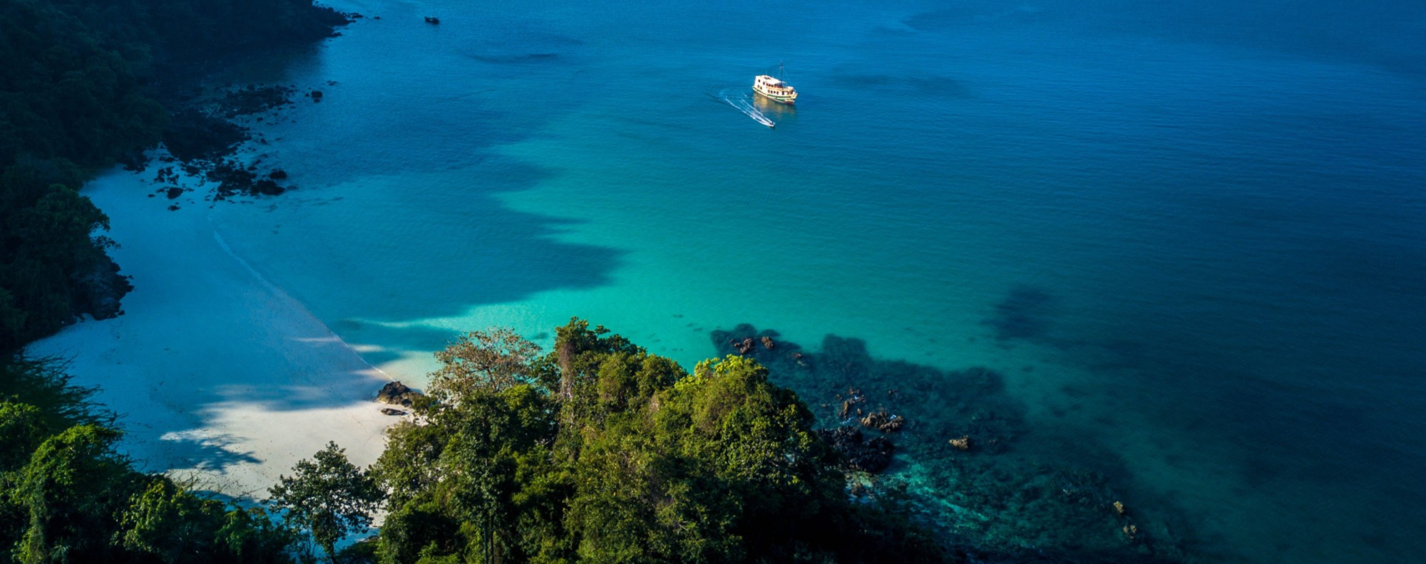 The Sea Gypsy skirts one of the Myeik islands. Picture: David Dennis