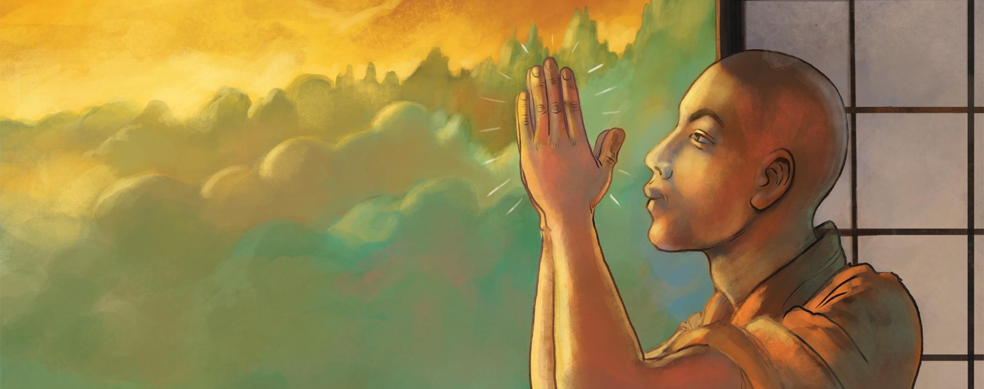 Finding quiet at a Vipassana retreat. Illustration: Adolfo Arranz