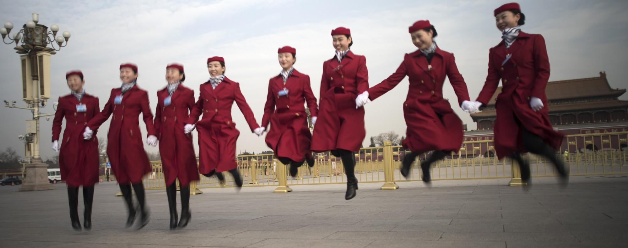 Feeling patriotic in Beijing. Photo: AFP