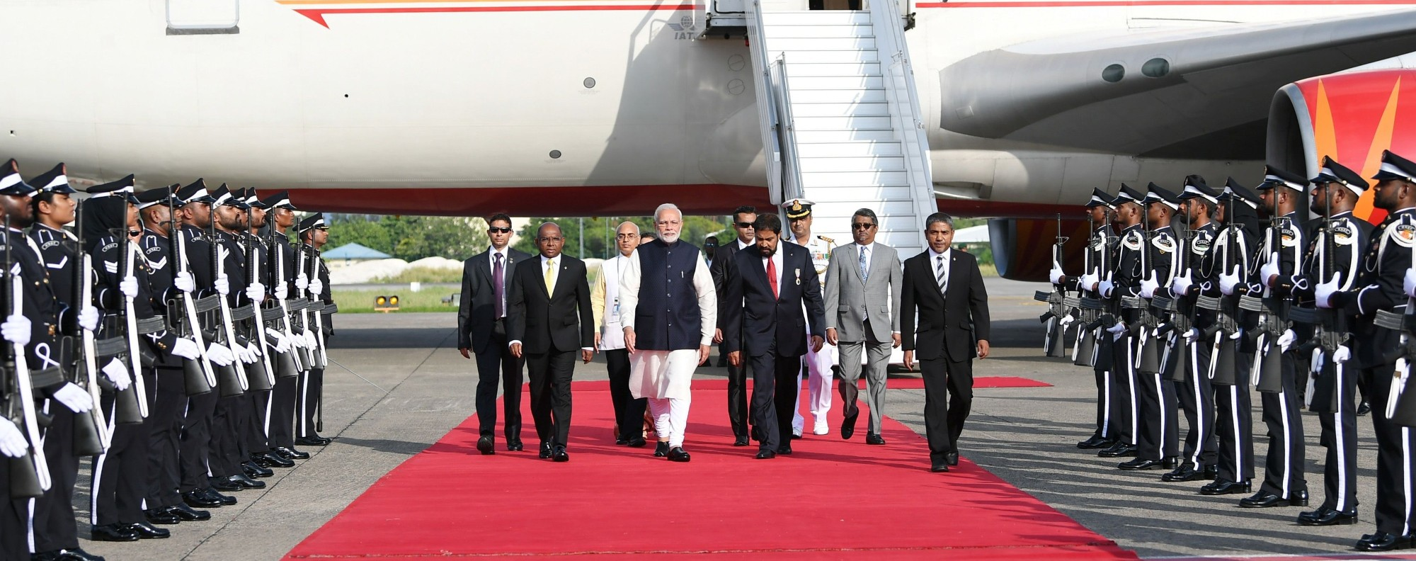 Modi arrives in the Maldives. Photo: AFP