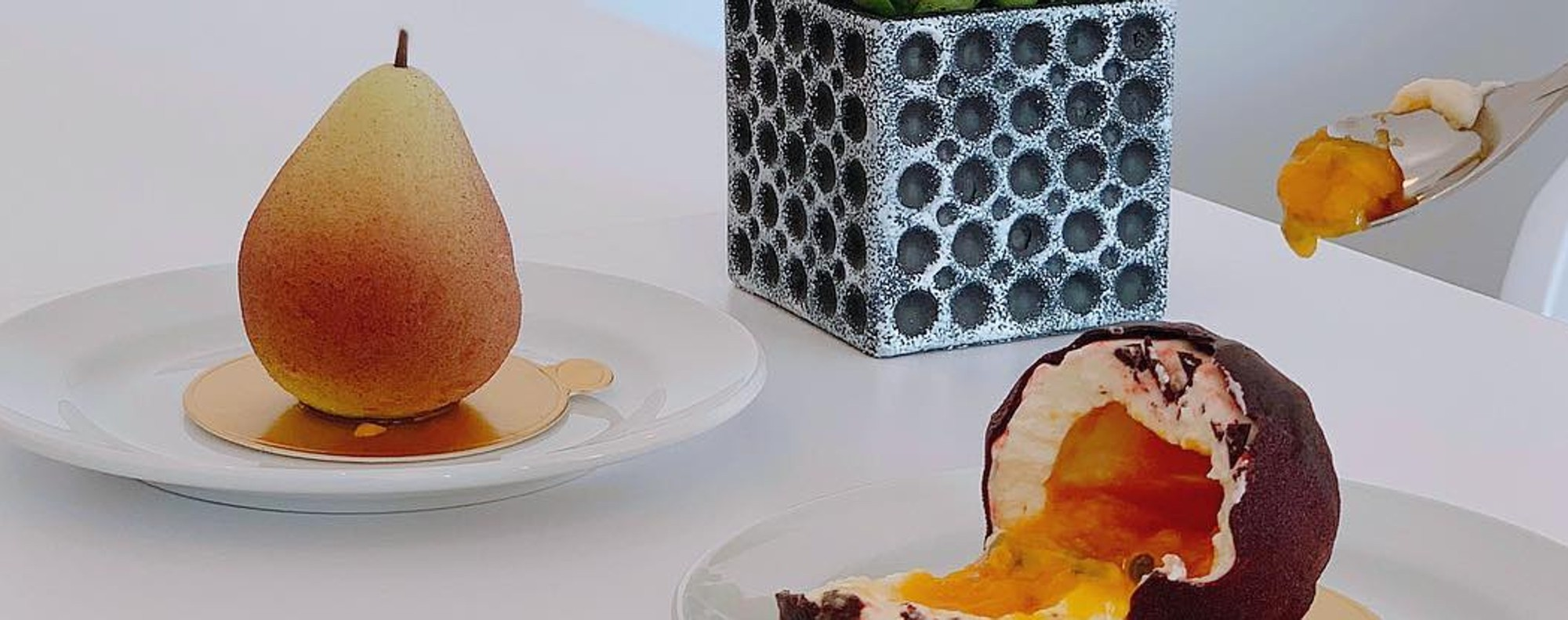 Passion Fruit & Pear from fruit series desserts at Namelaka Patisserie. Photo: Instagram @chowsc86