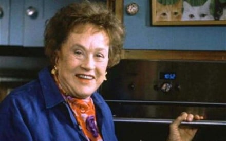 "Julia Child, America's 85-year-old master cook, is pictured in this file photo from 1995. Child, who has a new television show, a new cookbook, and numerous public engagements, said recently, ""You don't ever have to retire in my business. REUTERS"