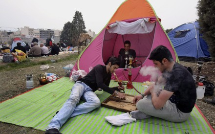Backgammon is played in a Tehran park.Photo: AP