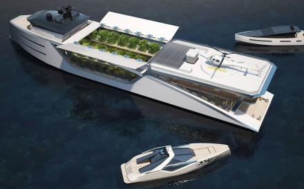 The solar panels, located over the farm, are closed when the superyacht is moving to improve aerodynamic efficiency. They open when the yacht is anchored to let sunlight into the farm. Illustrations: Max Zhivov