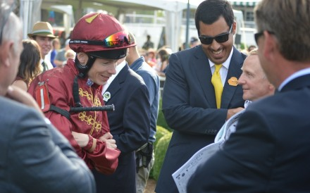Jamie Spencer and Sheikh Fahad al-Thani share a joke at the Arlington Million in Chicago in August. The same weekend, the Qatari royal told Spencer his services as a jockey would no longer be required. Photo: SCMP Pictures