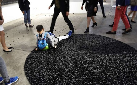 Some children did not give due reverence to the artworks on display at Art Basel. Photo: AP