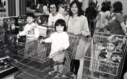 Customers at the newly opened Toys 'R' Us at Ocean Terminal, in November 1986. Hong Kong's malls and shopping centres have transformed the city in the half century since Ocean Terminal opened. Photo: SCMP