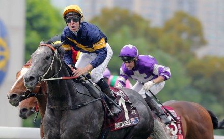 Tommy Berry celebrates aboard Chautauqua after winning the Chairman's Sprint Prize on Sunday. The Jockey Club has no plans to change the format of the race. Photo: Kenneth Chan