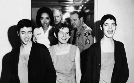 Susan Atkins, left, Patricia Krenwinkel and Leslie Van Houten, Manson Family members, during their murder trials.