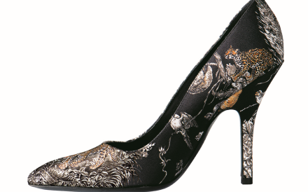 A high-heel pump by Hermes featuring the big cat print