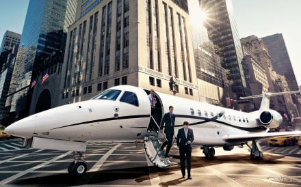 A Victor jet landed on Fifth Avenue in New York City.