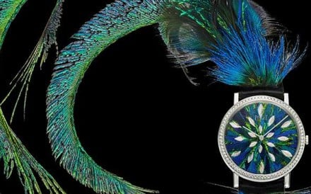 Piaget Feather Marquetry creates the illusion of a peacock in haute couture.